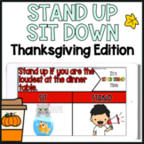 Thanksgiving Themed Movement Game Sit Down Stand Up