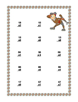 Thanksgiving Themed Multiplication Math Review Worksheets Grades 4-5