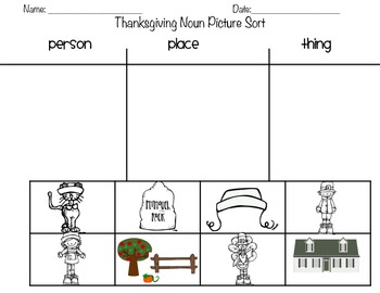 Thanksgiving Themed Noun Activities