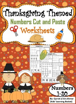 Thanksgiving Themed Numbers Cut and Paste Worksheets (1-20):