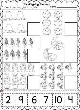 Thanksgiving Themed Numbers Cut and Paste Worksheets (1-20 ...