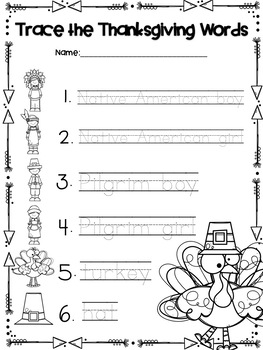 Thanksgiving Themed Pocket Chart Pictures & Word Cards
