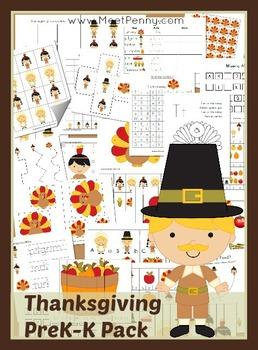 Thanksgiving Themed PreK-K Printable Pack