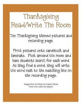 Thanksgiving Themed Read and Write the Room