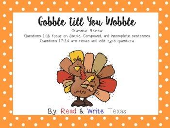 Thanksgiving Grammar Task Cards (STAAR Related)