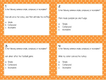 Thanksgiving Grammar Task Cards (STAAR Related)
