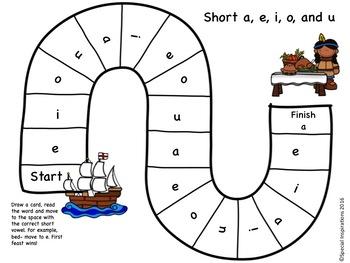 Thanksgiving Themed Short Vowels (a, e, i, o, u) Game
