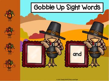 Thanksgiving Themed Sight Word Activities For GOOGLE CLASSROOM