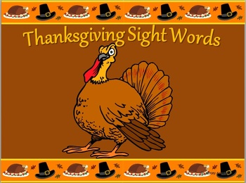 Thanksgiving Themed Sight Word Flashcards