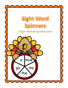 Thanksgiving Themed Sight Word Spinner Center Pre-K Dolch Words
