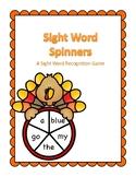Thanksgiving Themed Pre-K Sight Word Spinner Center