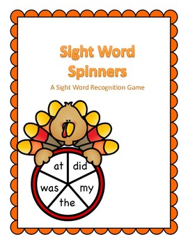 Thanksgiving Themed Sight Word Spinners Kindergarten Dolch Words