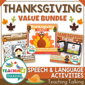Thanksgiving Speech Therapy Activities Value Bundle