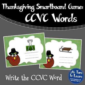Thanksgiving Themed Spelling CCVC Words for Smartboard or