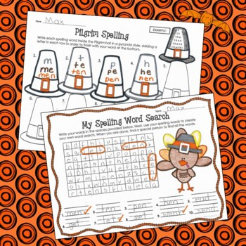 Spelling Activities and Practice for Thanksgiving, to fit any list