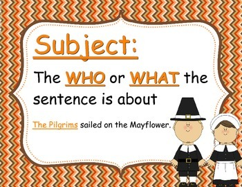 Thanksgiving Subject/Predicate Pack