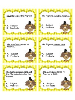 Thanksgiving Themed Subject/Predicate Task Cards