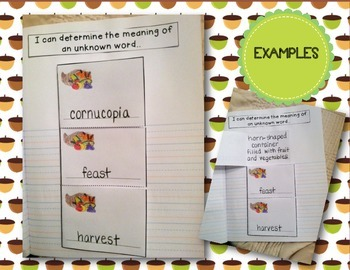 Thanksgiving Themed Supplements for Interactive Literacy Notebooks