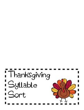 Thanksgiving Themed Syllable Sort