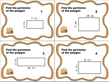 Thanksgiving Themed Area & Perimeter Task Card Bundle