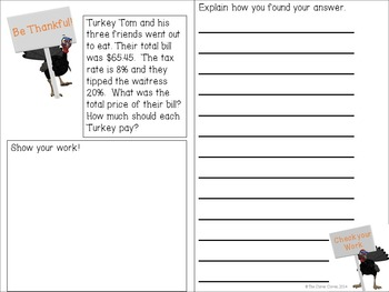 Thanksgiving Themed Tax and Tip Problem - Freebie