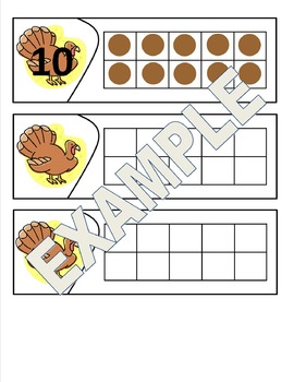 Thanksgiving Themed Ten Frames - Number Sense and Recognition Puzzles or Posters