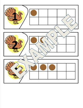 Thanksgiving Themed Ten Frames - Number Sense and Recognit