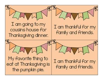 Thanksgiving Themed Types of Sentences Sort