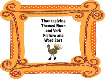 Thanksgiving-Themed Verb and Noun Word and Picture Sort
