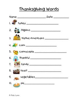Thanksgiving Themed Vocabulary Words Handwriting