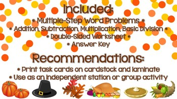 Thanksgiving Themed Word Problem Task Cards - Multiple Step Word Problems