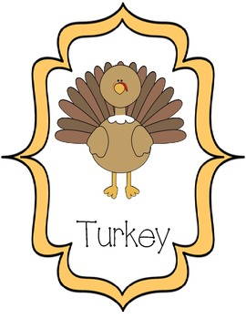 Thanksgiving Themed Words and Pictures- Word Wall