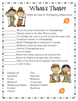 Thanksgiving Themed Workbook