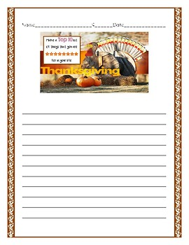 Thanksgiving Themed Writing Prompt Paper