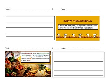 Thanksgiving Themed Writing Prompt Short Response Acitivity