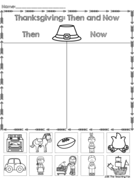 Thanksgiving Then and Now Printable Sort