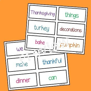 Thanksgiving Things We Can Do: Early Reader with Word Cards