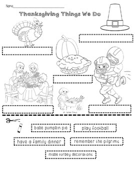 Thanksgiving Things We Do: Label With the Phrases Sheet