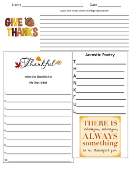 Thanksgiving Think Sheet (writing, acrostic poetry, top 10 list)
