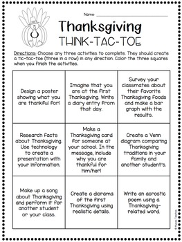 Think-Tac-Toe - Thanksgiving