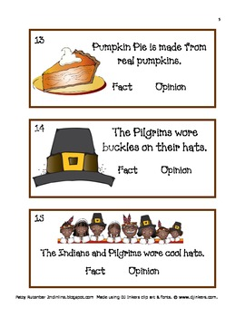 Thanksgiving Thoughts Fact & Opinion