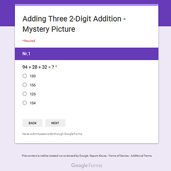 Thanksgiving: Three 2-Digit Addition - Mystery Picture - Google Forms