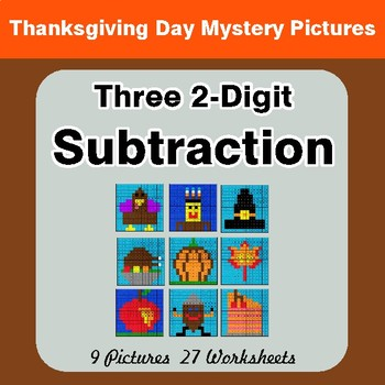 Thanksgiving: Three 2-Digit Subtraction - Color-By-Number Math Mystery Pictures