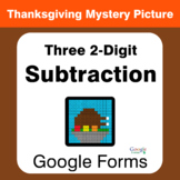 Thanksgiving: Three 2-Digit Subtraction - Mystery Picture