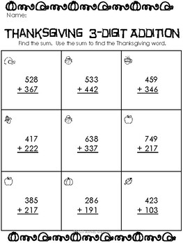 Thanksgiving Three-Digit Addition