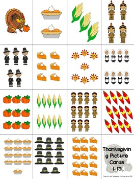 Thanksgiving Practice with Numbers 1-15: FREE