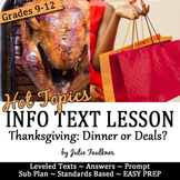 Thanksgiving Nonfiction Lesson on Hot Topics: Dinner or Deals? Black Friday