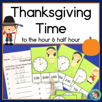 Thanksgiving Math Center- telling time to the hour and half hour