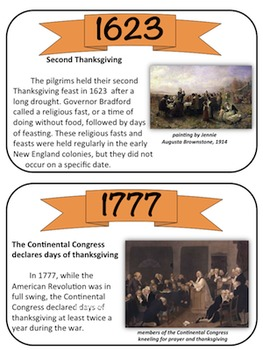 Thanksgiving Timeline Task Cards