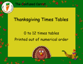 Thanksgiving Times Tables